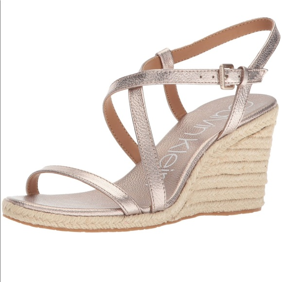 9b31e4141b0 Calvin Klein Bellemine Espadrille Wedge Shoes NWT